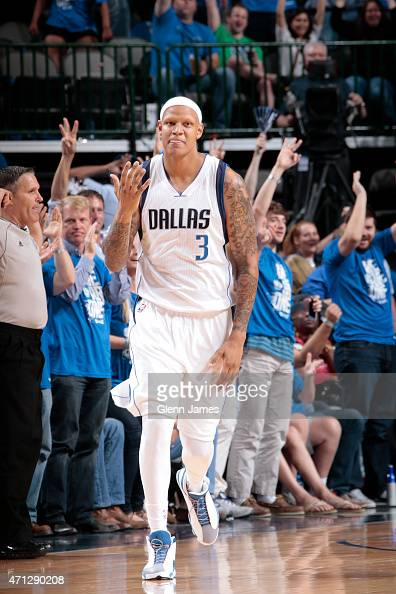 Charlie Villanueva of the Dallas Mavericks celebrates a made basket against the Houston Rockets during Game Four of the Western Conference...
