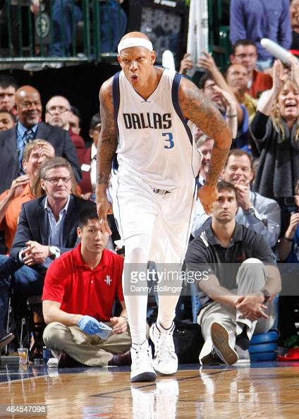 Charlie Villanueva of the Dallas Mavericks celebrates during a game against the Houston Rockets on February 20 2015 at the American Airlines Center...