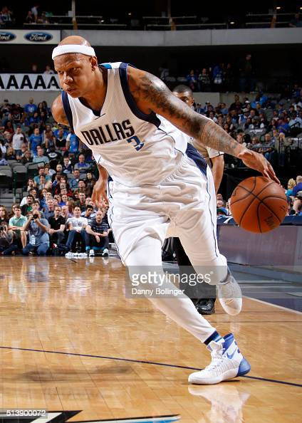 Charlie Villanueva of the Dallas Mavericks dribbles the ball against the Minnesota Timberwolves on February 28 2016 at the American Airlines Center...