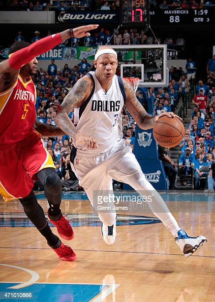 Charlie Villanueva of the Dallas Mavericks drives against the Houston Rockets during Game Three of the Western Conference Quarterfinals of the 2015...