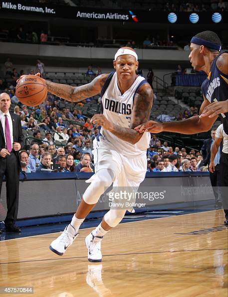 Charlie Villanueva of the Dallas Mavericks drives against the Memphis Grizzlies on October 20 2014 at the American Airlines Center in Dallas Texas...