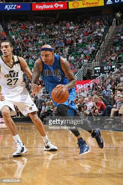 Charlie Villanueva of the Dallas Mavericks drives to the basket against the Utah Jazz on April 13 2015 at EnergySolutions Arena in Salt Lake City...