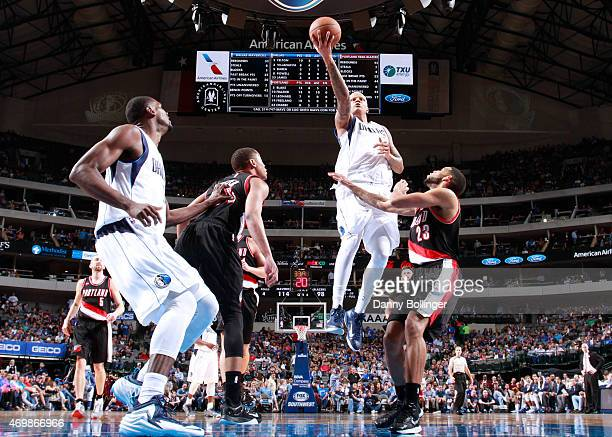 Charlie Villanueva of the Dallas Mavericks goes in for the layup against the Portland Trail Blazers on April 15 2015 at the American Airlines Center...