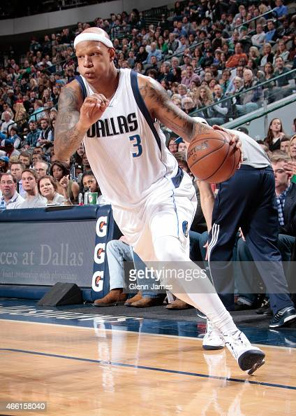 Charlie Villanueva of the Dallas Mavericks handles the ball against the Los Angeles Clippers on March 13 2015 at the American Airlines Center in...