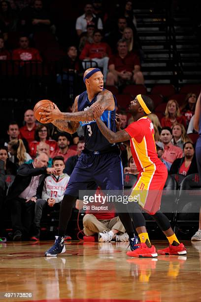 Charlie Villanueva of the Dallas Mavericks handles the ball against the Houston Rockets on November 14 2015 at the Toyota Center in Houston Texas...