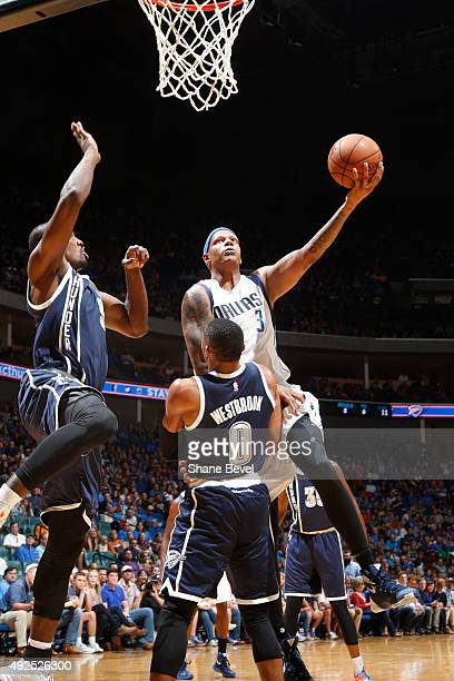 Charlie Villanueva of the Dallas Mavericks shoots the ball against the Oklahoma City Thunder during a preseason game on October 13 2015 at the BOK...