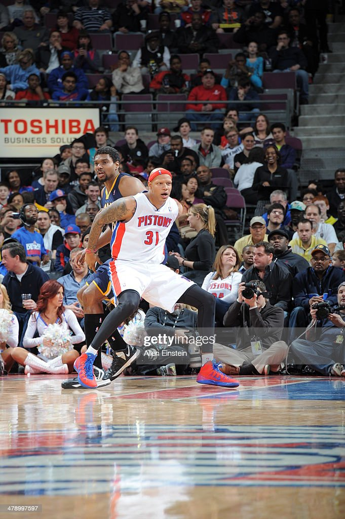 <a gi-track='captionPersonalityLinkClicked' href=/galleries/search?phrase=Charlie+Villanueva&family=editorial&specificpeople=215189 ng-click='$event.stopPropagation()'>Charlie Villanueva</a> #31 of the Detroit Pistons backs up to the basket against the Indiana Pacers during the game on March 15, 2014 at The Palace of Auburn Hills in Auburn Hills, Michigan.