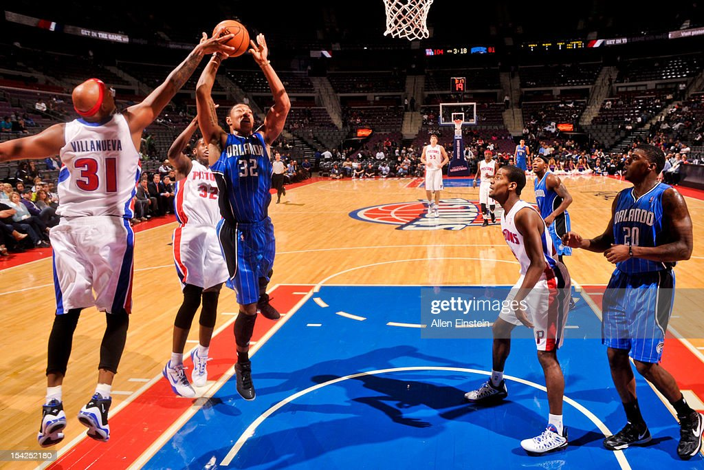 <a gi-track='captionPersonalityLinkClicked' href=/galleries/search?phrase=Charlie+Villanueva&family=editorial&specificpeople=215189 ng-click='$event.stopPropagation()'>Charlie Villanueva</a> #31 of the Detroit Pistons blocks a shot attempt by Justin Harper #32 of the Orlando Magic during a pre-season game on October 16, 2012 at The Palace of Auburn Hills in Auburn Hills, Michigan.