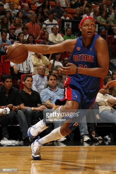 Charlie Villanueva of the Detroit Pistons drives against the Miami Heat on April 9 2010 at American Airlines Arena in Miami Florida NOTE TO USER User...