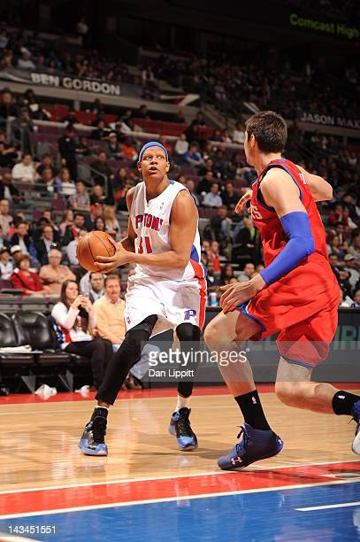 Charlie Villanueva of the Detroit Pistons drives during the game between the Detroit Pistons and the Philadelphia 76ers on April 26 2012 at The...