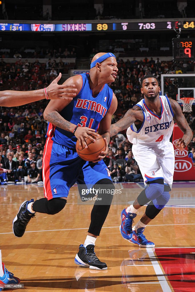<a gi-track='captionPersonalityLinkClicked' href=/galleries/search?phrase=Charlie+Villanueva&family=editorial&specificpeople=215189 ng-click='$event.stopPropagation()'>Charlie Villanueva</a> #31 of the Detroit Pistons drives to the basket against the Philadelphia 76ers during the game at the Wells Fargo Center on December 10, 2012 in Philadelphia, Pennsylvania.