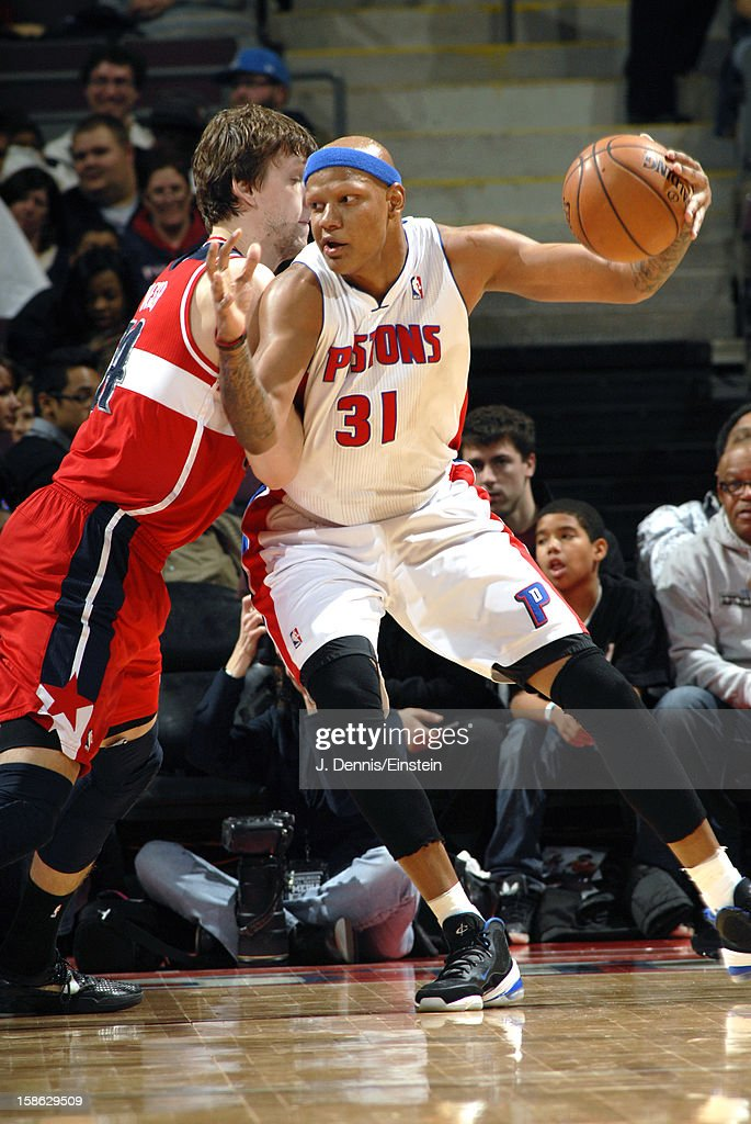 <a gi-track='captionPersonalityLinkClicked' href=/galleries/search?phrase=Charlie+Villanueva&family=editorial&specificpeople=215189 ng-click='$event.stopPropagation()'>Charlie Villanueva</a> #31 of the Detroit Pistons drives to the basket against the Washington Wizards during the game on December 21, 2012 at The Palace of Auburn Hills in Auburn Hills, Michigan.