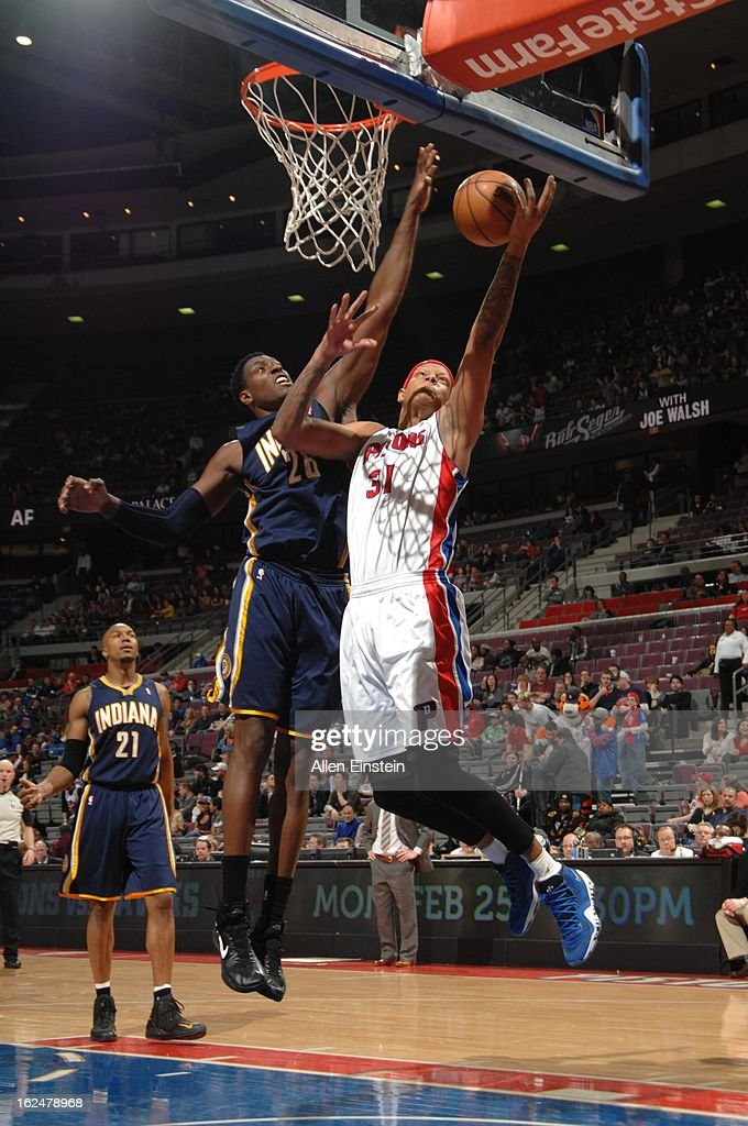<a gi-track='captionPersonalityLinkClicked' href=/galleries/search?phrase=Charlie+Villanueva&family=editorial&specificpeople=215189 ng-click='$event.stopPropagation()'>Charlie Villanueva</a> #31 of the Detroit Pistons goes to the basket against <a gi-track='captionPersonalityLinkClicked' href=/galleries/search?phrase=Ian+Mahinmi&family=editorial&specificpeople=740196 ng-click='$event.stopPropagation()'>Ian Mahinmi</a> #28 of the Indiana Pacers on February 23, 2013 at The Palace of Auburn Hills in Auburn Hills, Michigan.