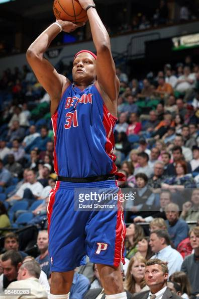 Charlie Villanueva of the Detroit Pistons goes up for a shot during the game against the Minnesota Timberwolves on April 14 2010 at the Target Center...