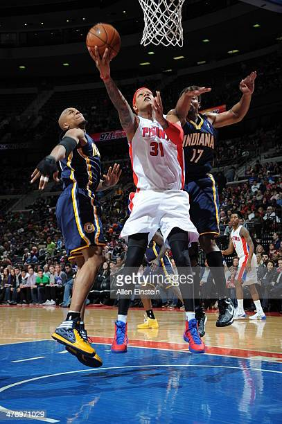 Charlie Villanueva of the Detroit Pistons goes up for the layup against the Indiana Pacers during the game on March 15 2014 at The Palace of Auburn...