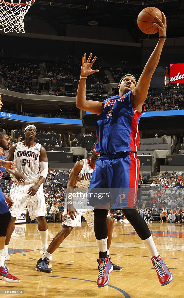 <a gi-track='captionPersonalityLinkClicked' href=/galleries/search?phrase=Charlie+Villanueva&family=editorial&specificpeople=215189 ng-click='$event.stopPropagation()'>Charlie Villanueva</a> #31 of the Detroit Pistons grabs a rebound against the Charlotte Bobcats on April 10, 2011 at Time Warner Cable Arena on the practice court in Charlotte, North Carolina.