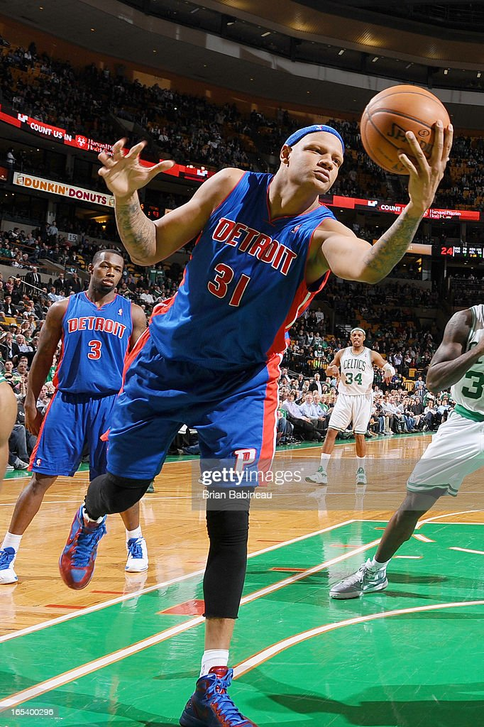 Charlie Villanueva #31 of the Detroit Pistons grabs the rebound against the Boston Celtics on April 3, 2013 at the TD Garden in Boston, Massachusetts.