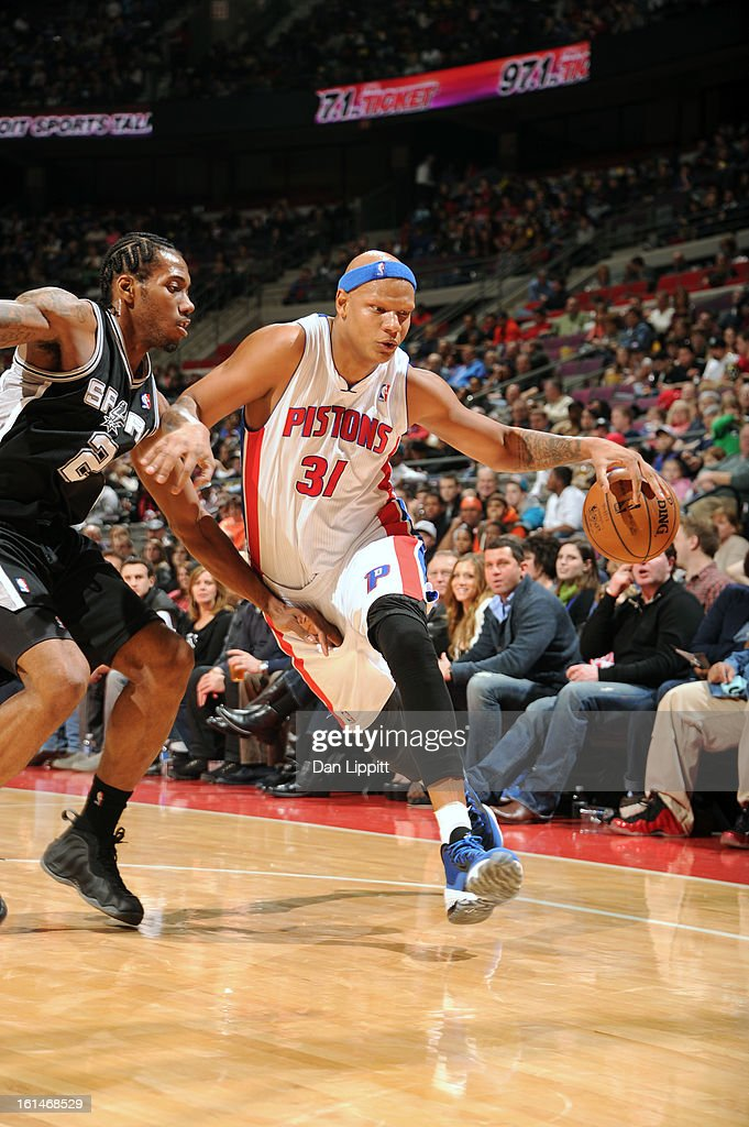 <a gi-track='captionPersonalityLinkClicked' href=/galleries/search?phrase=Charlie+Villanueva&family=editorial&specificpeople=215189 ng-click='$event.stopPropagation()'>Charlie Villanueva</a> #31 of the Detroit Pistons handles the ball against <a gi-track='captionPersonalityLinkClicked' href=/galleries/search?phrase=Kawhi+Leonard&family=editorial&specificpeople=6691012 ng-click='$event.stopPropagation()'>Kawhi Leonard</a> #2 of the San Antonio Spurs on February 8, 2013 at The Palace of Auburn Hills in Auburn Hills, Michigan.