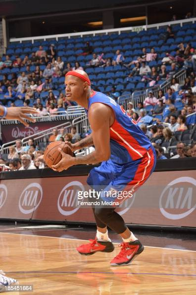 Charlie Villanueva of the Detroit Pistons looks to pass the ball against the Orlando Magic during the game on October 20 2013 at Amway Center in...