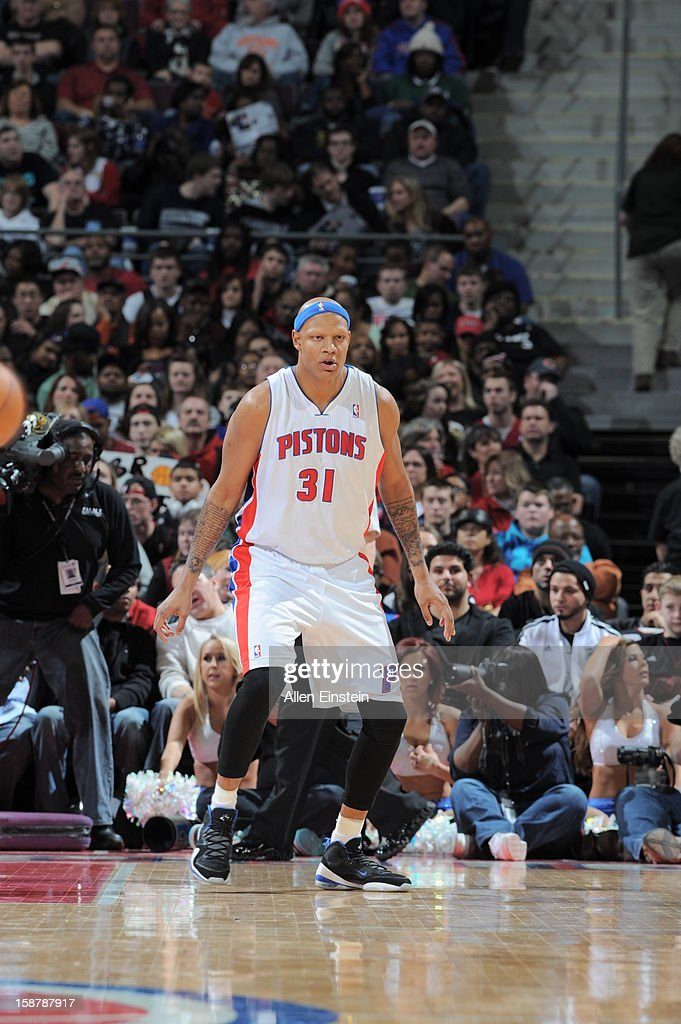 Charlie Villanueva #31 of the Detroit Pistons looks to play tight defense against the Miami Heat during the game on December 28, 2012 at The Palace of Auburn Hills in Auburn Hills, Michigan.