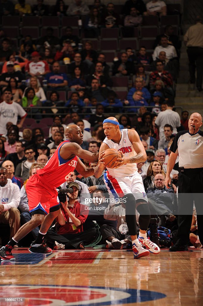 Charlie Villanueva #31 of the Detroit Pistons protects the ball from Damien Wilkins #8 of the Philadelphia 76ers during the game between the Detroit Pistons and the Philadelphia 76ers on April 15, 2013 at The Palace of Auburn Hills in Auburn Hills, Michigan.