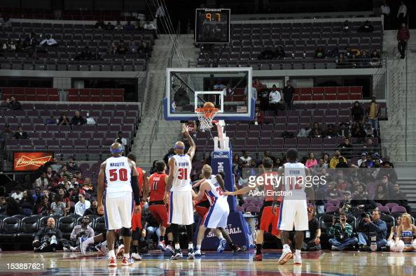 Charlie Villanueva of the Detroit Pistons sends the ball to the basket during the game between the Detroit Pistons and the Toronto Raptors on October...