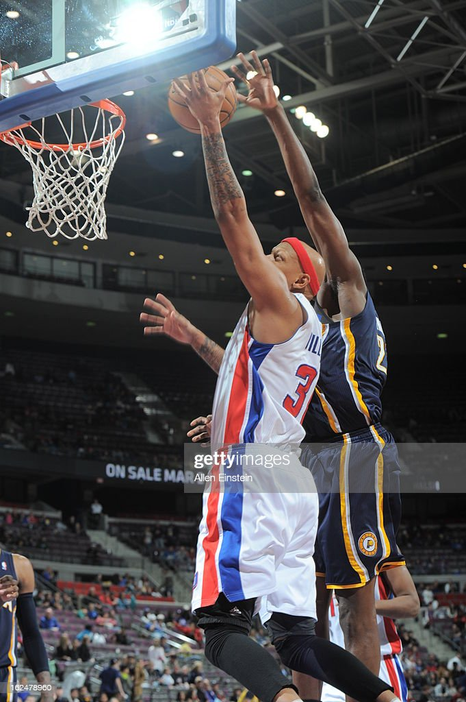 Charlie Villanueva #31 of the Detroit Pistons shoots a layup against the Indiana Pacers on February 23, 2013 at The Palace of Auburn Hills in Auburn Hills, Michigan.