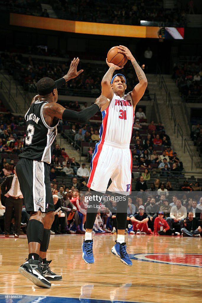 <a gi-track='captionPersonalityLinkClicked' href=/galleries/search?phrase=Charlie+Villanueva&family=editorial&specificpeople=215189 ng-click='$event.stopPropagation()'>Charlie Villanueva</a> #31 of the Detroit Pistons shoots against Stephen Jackson #3 of the San Antonio Spurs on February 8, 2013 at The Palace of Auburn Hills in Auburn Hills, Michigan.