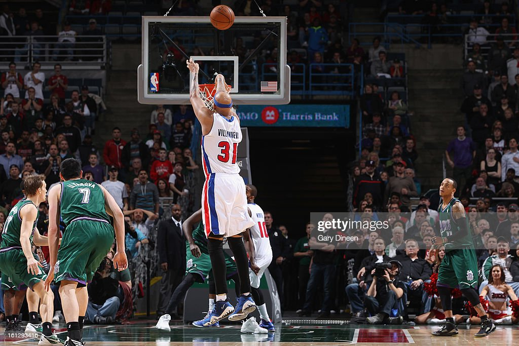 <a gi-track='captionPersonalityLinkClicked' href=/galleries/search?phrase=Charlie+Villanueva&family=editorial&specificpeople=215189 ng-click='$event.stopPropagation()'>Charlie Villanueva</a> #31 of the Detroit Pistons shoots the go-ahead 3-pointer with 9.7 seconds remaining against the Milwaukee Bucks on February 9, 2013 at the BMO Harris Bradley Center in Milwaukee, Wisconsin.