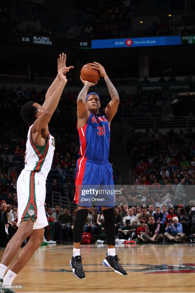 <a gi-track='captionPersonalityLinkClicked' href=/galleries/search?phrase=Charlie+Villanueva&family=editorial&specificpeople=215189 ng-click='$event.stopPropagation()'>Charlie Villanueva</a> #31 of the Detroit Pistons takes a shot against the Milwaukee Bucks on January 11, 2013 at the BMO Harris Bradley Center in Milwaukee, Wisconsin.