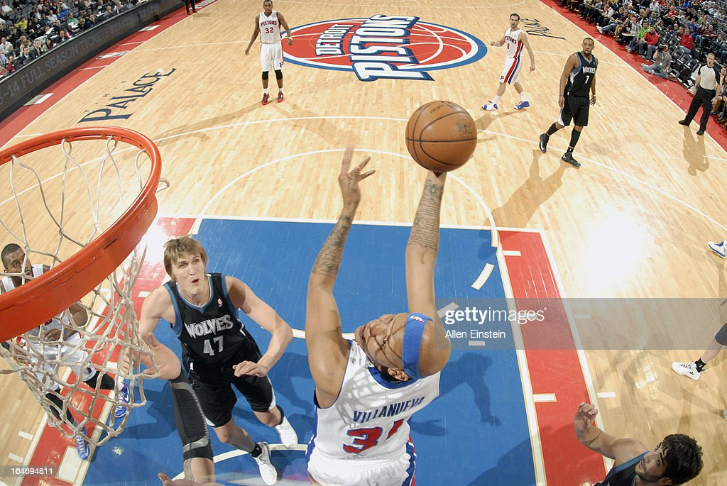 <a gi-track='captionPersonalityLinkClicked' href=/galleries/search?phrase=Charlie+Villanueva&family=editorial&specificpeople=215189 ng-click='$event.stopPropagation()'>Charlie Villanueva</a> #31 of the Detroit Pistons takes an awkward shot against the Minnesota Timberwolves during the game on March 26, 2013 at The Palace of Auburn Hills in Auburn Hills, Michigan.