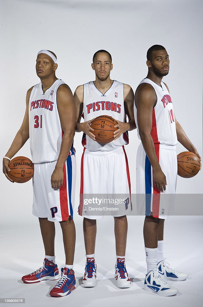 Charlie Villanueva Tayshaun Prince and Greg Monroe of the Detroit Pistons pose for a photo during the Detroit Pistons media day at The Palace of...