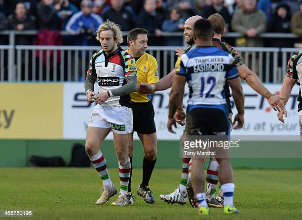 Charlie Walker of Harlequins walks off the pitch after receiving a yellow card from referee Martin Fox during the Aviva Premiership match between...