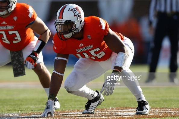 Charlie Walker of the Bowling Green Falcons lines up for a play during the game against the Kent State Golden Flashes on November 17 2012 at Doyt...