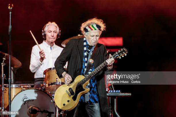 Charlie Watts and Keith Richards of The Rolling Stones perform on stage during Lucca Summer Festival 2017 on September 23 2017 in Lucca Italy