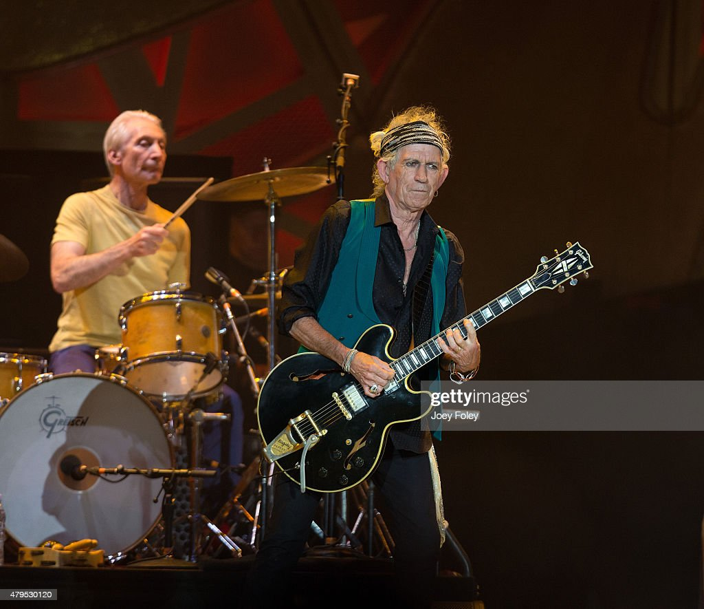 Charlie Watts and Keith Richards of The Rolling Stones performs live onstage at The Indianapolis Motor Speedway on July 4, 2015 in Indianapolis, Indiana.