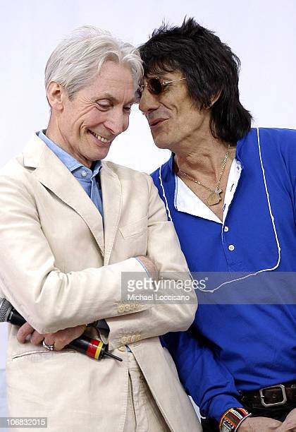 Charlie Watts and Ron Wood of The Rolling Stones during Rolling Stones Kick Off World Tour with a Surprise Performance in New York City May 10 2005...