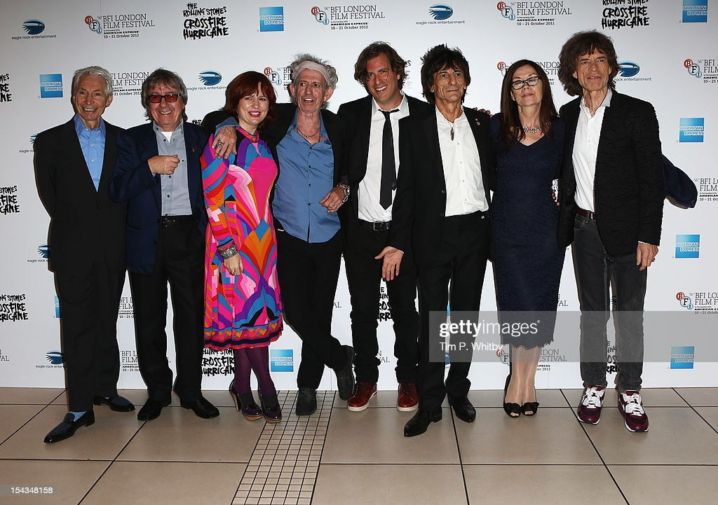 Charlie Watts, Bill Wyman, festival director Clare Stewart, <a gi-track='captionPersonalityLinkClicked' href=/galleries/search?phrase=Keith+Richards+-+Musician&family=editorial&specificpeople=202882 ng-click='$event.stopPropagation()'>Keith Richards</a>, director Brett Morgen, Ronnie Wood, producer Victoria Pearman and <a gi-track='captionPersonalityLinkClicked' href=/galleries/search?phrase=Mick+Jagger&family=editorial&specificpeople=201786 ng-click='$event.stopPropagation()'>Mick Jagger</a> of the Rolling Stones attend the Premiere of 'Crossfire Hurricane' during the 56th BFI London Film Festival at Odeon Leicester Square on October 18, 2012 in London, England.