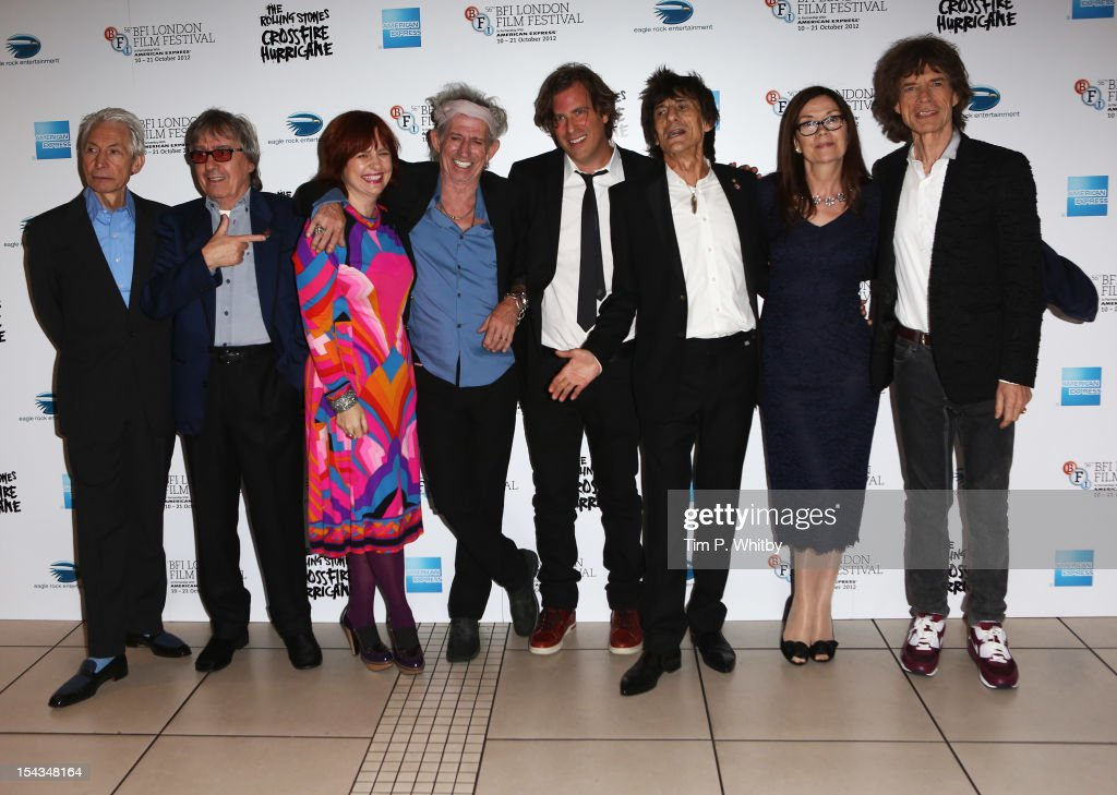Charlie Watts, Bill Wyman, festival director Clare Stewart, Keith Richards, director Brett Morgen, Ronnie Wood, producer Victoria Pearman and Mick Jagger of the Rolling Stones attend the Premiere of 'Crossfire Hurricane' during the 56th BFI London Film Festival at Odeon Leicester Square on October 18, 2012 in London, England.
