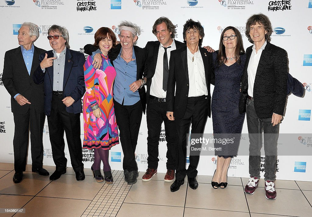 Charlie Watts, Bill Wyman, festival director Clare Stewart, Keith Richards, director Brett Morgen, Ronnie Wood, Victoria Pearman and Mick Jagger attend the Gala Premiere of 'Crossfire Hurricane' during the 56th BFI London Film Festival at Odeon Leicester Square on October 18, 2012 in London, England.