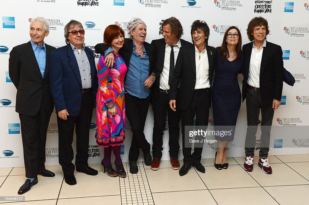 Charlie Watts, Bill Wyman, Keith Richards, Brett Morgen, Ronnie Wood, Victoria Pearman and Mick Jagger attend the premiere of 'Crossfire Hurricane' during the 56th BFI London Film Festival at The Odeon Leicester Square on October 18, 2012 in London, England.