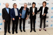 Charlie Watts Bill Wyman Keith Richards Ronnie Wood and Mick Jagger of The Rolling Stones attends the premiere of 'Crossfire Hurricane' during the...