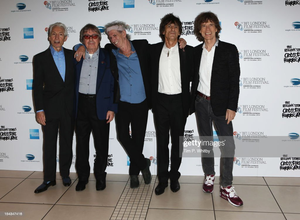 Charlie Watts, Bill Wyman, Keith Richards Ronnie Wood and <a gi-track='captionPersonalityLinkClicked' href=/galleries/search?phrase=Mick+Jagger&family=editorial&specificpeople=201786 ng-click='$event.stopPropagation()'>Mick Jagger</a> of the Rolling Stones attend the Premiere of 'Crossfire Hurricane' during the 56th BFI London Film Festival at Odeon Leicester Square on October 18, 2012 in London, England.
