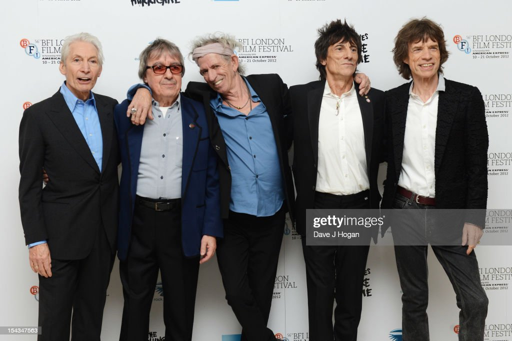 <a gi-track='captionPersonalityLinkClicked' href=/galleries/search?phrase=Charlie+Watts&family=editorial&specificpeople=213325 ng-click='$event.stopPropagation()'>Charlie Watts</a>, <a gi-track='captionPersonalityLinkClicked' href=/galleries/search?phrase=Bill+Wyman&family=editorial&specificpeople=157859 ng-click='$event.stopPropagation()'>Bill Wyman</a>, <a gi-track='captionPersonalityLinkClicked' href=/galleries/search?phrase=Keith+Richards+-+Musician&family=editorial&specificpeople=202882 ng-click='$event.stopPropagation()'>Keith Richards</a>, Ronnie Wood and <a gi-track='captionPersonalityLinkClicked' href=/galleries/search?phrase=Mick+Jagger&family=editorial&specificpeople=201786 ng-click='$event.stopPropagation()'>Mick Jagger</a> of The Rolling Stones attends the premiere of 'Crossfire Hurricane' during the 56th BFI London Film Festival at The Odeon Leicester Square on October 18, 2012 in London, England.