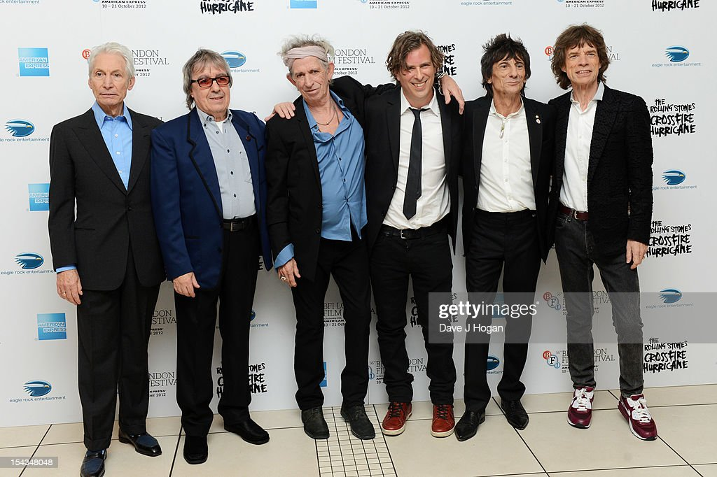 Charlie Watts, Bill Wyman, Keith Richards, Ronnie Wood and Mick Jagger of The Rolling Stones attends the premiere of 'Crossfire Hurricane' during the 56th BFI London Film Festival at The Odeon Leicester Square on October 18, 2012 in London, England.
