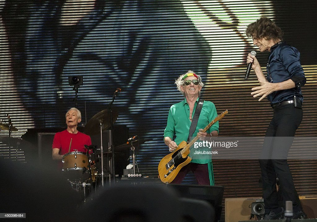 Charlie Watts, Keith Richards and Mick Jagger of the British band The Rolling Stones perform live during a concert at the Waldbuehne on June 10, 2014 in Berlin, Germany.