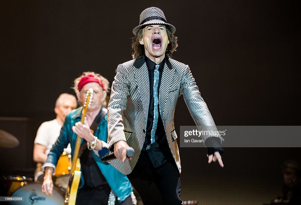Charlie Watts, Keith Richards and Mick Jagger of The Rolling Stones perform live at 02 Arena on November 25, 2012 in London, England.