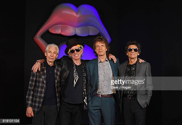 Charlie Watts Keith Richards Mick Jagger and Ronnie Wood of The Rolling Stones pose for a photo during a preview of 'The Rolling Stones...