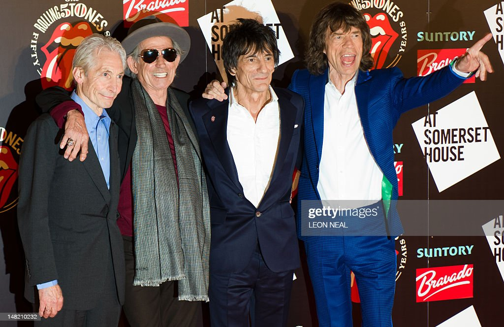 Charlie Watts (L), Keith Richards (2nd L), Ronnie Wood (2nd R) and Mick Jagger (R) arrive at Somerset House in central London ahead of a party to celebrate the launch of a book 'Rolling Stones 50', a photographic exhibition, and the 50 years since their first show. The Rolling Stones are launching a photographic exhibition marking 50 years since their first gig, as guitarist Keith Richards said the veteran British rock band has been rehearsing again. Mick Jagger, Keith Richards and Brian Jones played the Marquee Club in London on July 12, 1962, the first time they performed under the band name which would change the landscape of pop music forever.