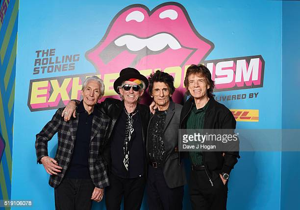 Charlie Watts Keith Richards Ronnie Wood and Mick Jagger of The Rolling Stones pose during a preview of 'The Rolling Stones Exhibitionism' at Saatchi...